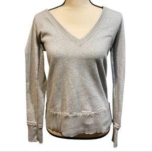 American Eagle Gray V-Neck Pullover Sweatshirt